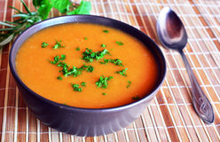 Pumpkin Creme Soup In The Bowl With Parsley Stock Photo