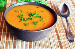 Pumpkin Creme Soup In The Bowl With Parsley Stock Images