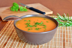 Pumpkin Creme Soup In The Bowl With Parsley Stock Image