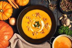 Pumpkin creme soup in a dark crockery served with croutons, crus. Hed nuts and cream, top view. Around are ingredients: pumpkins, carrots, onions, garlic stock photography