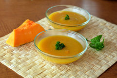 Pumpkin Creme Soup In The  Glass Bowl Stock Images