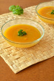 Pumpkin Creme Soup In The  Glass Bowl Stock Image