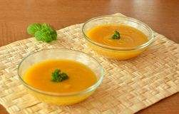 Pumpkin Creme Soup In The  Glass Bowl Royalty Free Stock Photo