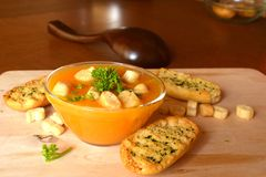 Pumpkin Creme Soup On A Glass Bowl With Croutons Royalty Free Stock Images