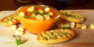 Pumpkin Creme Soup On A Glass Bowl With Croutons Royalty Free Stock Photo