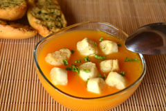 Pumpkin Creme Soup On A Glass Bowl With Parsley And Croutons Royalty Free Stock Photography