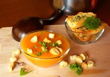 Pumpkin Creme Soup On A Glass Bowl With Parsley And Croutons Royalty Free Stock Image