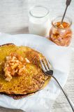 Pumpkin crepes with fruit confiture Stock Photos