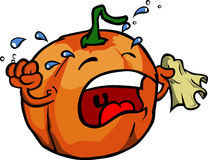 Pumpkin crying into a tissue Royalty Free Stock Images