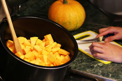 Pumpkin cubes sliced Royalty Free Stock Photography