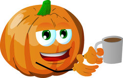 Pumpkin with a cup of coffee Royalty Free Stock Image