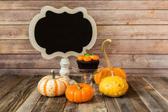 Pumpkin cupcake with gourds and chalkboard sign Royalty Free Stock Photo