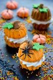 Pumpkin cupcakes for Halloween or Thanksgiving Royalty Free Stock Photos