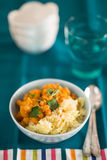 Pumpkin curry with chick-peas and rice indian cuisine Stock Images