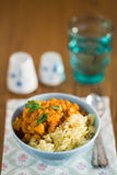 Pumpkin curry with chick-peas and rice indian cuisine Royalty Free Stock Photography
