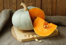 Pumpkin, cut with seeds Stock Photo