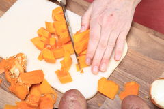 Pumpkin Cut To Pieces Stock Photography