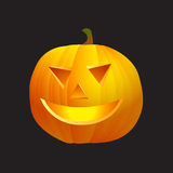 Pumpkin with cutted face isolated on black Royalty Free Stock Photos
