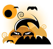 Pumpkin in day of halloween. Pumpkin with bat  in day of halloween Royalty Free Stock Images