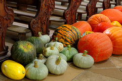 Pumpkin decoration church Royalty Free Stock Image