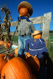 Pumpkin decorations in New England. Pumpkin People, Scenic Route 100, Autumn in Vermont Stock Photography