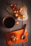 Pumpkin dessert and tea stock image