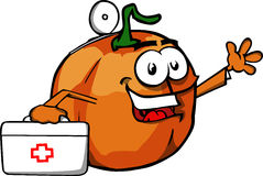 Pumpkin doctor with first aid kit Stock Image