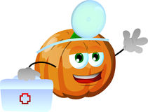 Pumpkin doctor with first aid kit Royalty Free Stock Photography