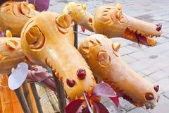 Pumpkin dragon heads Royalty Free Stock Photo