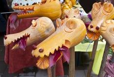 Pumpkin dragon heads Stock Image