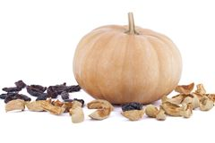 Pumpkin with dried apples and plums on white background. Horizontal Stock Photo