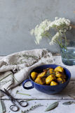 Pumpkin dumplings on cup with thyme and sage on rustic table with flowers Stock Photos