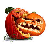 Pumpkin Eating. Icon as a dominant halloween squash taking a bite out of another orange evil jack o lantern or a thanksgiving food symbol with 3D illustration Royalty Free Stock Images