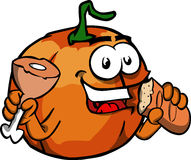 Pumpkin eating meat and bread Stock Photography