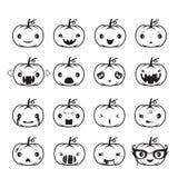 Pumpkin Emoticons Set. Holiday Mystery emoji facial expression feeling mood personality symbol October Stock Images
