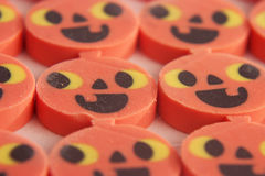 Halloween pumpkin erasers. A bunch of Halloween pumpkin erasers Stock Photography