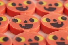 Halloween pumpkin erasers. A bunch of Halloween pumpkin erasers stock photography