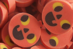 Pumpkin erasers. Halloween pumpkin erasers in a pile Stock Photo