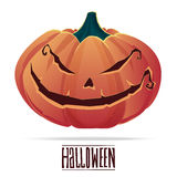 Pumpkin with an evil expression on his face for Halloween. Stock Photography