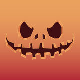 Pumpkin with an evil expression on his face for Halloween. Royalty Free Stock Images