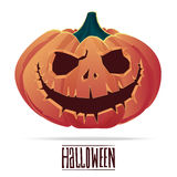 Pumpkin with an evil expression on his face for Halloween. Royalty Free Stock Image