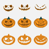 Pumpkin with an evil expression on his face for Halloween. 31 October. Vector Illustration Stock Photos