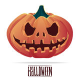 Pumpkin with an evil expression on his face for Halloween.Vector Stock Image