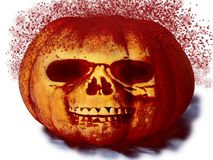 Pumpkin with a face with blood spray for halloween on white background royalty free stock photo