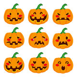 Pumpkin Face Expressions Royalty Free Stock Photos