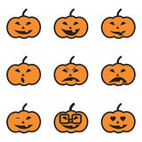 Pumpkin Face Expressions Icons Royalty Free Stock Images