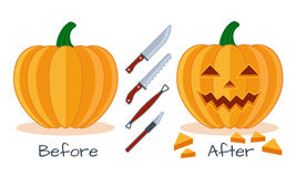Pumpkin face flat illustration proces Stock Photo