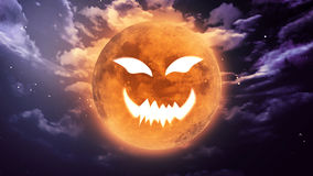 Pumpkin face Halloween moon Royalty Free Stock Image