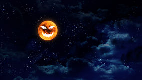 Pumpkin face moon wide Stock Photo