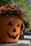 Pumpkin Face Planter with Mums Stock Photo
